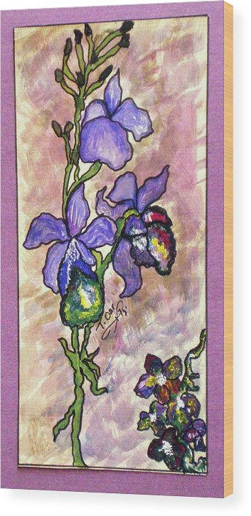 Flower Flowers Cool Wood Print featuring the painting Cool Flower Study by Tammera Malicki-Wong