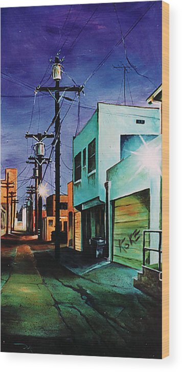 Alley Wood Print featuring the painting Emerald Alley by Duke Windsor