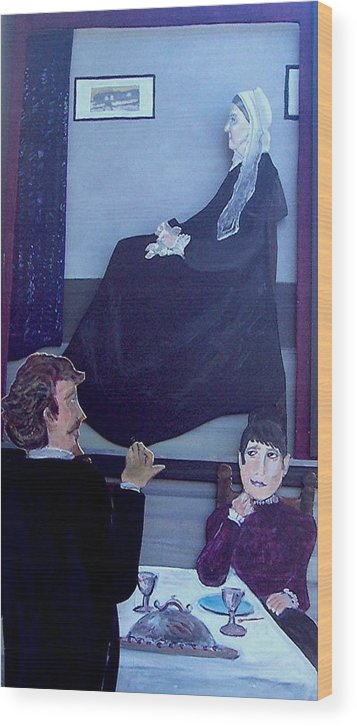 Whistler Wood Print featuring the relief Mother... Dinner Is Getting Cold by Richard Hubal