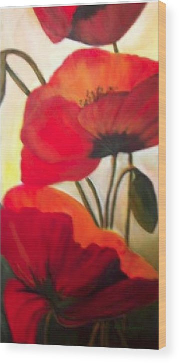 Floral Wood Print featuring the painting Red Poppies by Eileen Kasprick