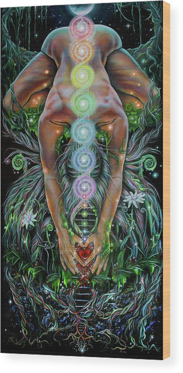 Dna Wood Print featuring the painting Sacred Cycle by Robyn Chance
