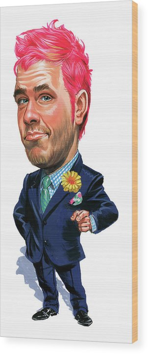 Perez Hilton Wood Print featuring the painting Perez Hilton by Art