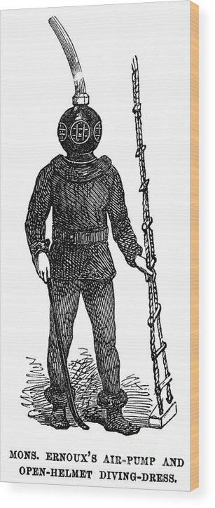1855 Wood Print featuring the photograph Diving Suit, 1855 by Granger