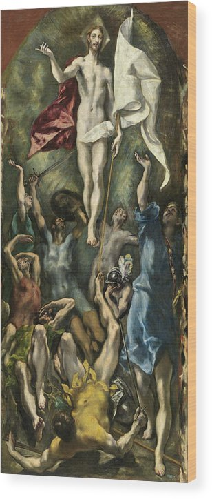 Christ Wood Print featuring the painting The Resurrection by El Greco