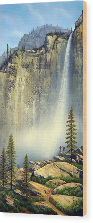 Landscape Wood Print featuring the painting Misty Falls by Frank Wilson
