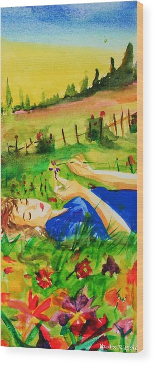 Landscape Wood Print featuring the painting Dreaming by Laura Rispoli