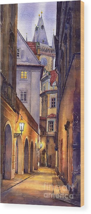 Cityscape Wood Print featuring the painting Prague Old Street by Yuriy Shevchuk