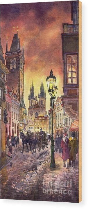 Cityscape Wood Print featuring the painting Prague Old Town Squere by Yuriy Shevchuk