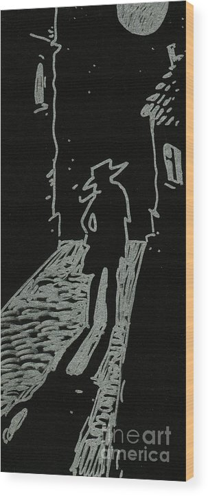 Drawing Wood Print featuring the drawing Wanderer by BlackLineWhite Art