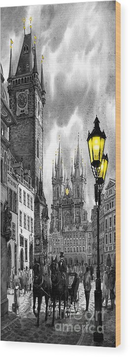 Geelee.watercolour Paper Wood Print featuring the painting Bw Prague Old Town Squere by Yuriy Shevchuk