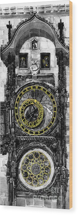 Geelee.watercolour Paper Wood Print featuring the painting Bw Prague The Horologue At Oldtownhall by Yuriy Shevchuk