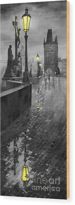 Prague Wood Print featuring the painting Bw Prague Charles Bridge 01 by Yuriy Shevchuk