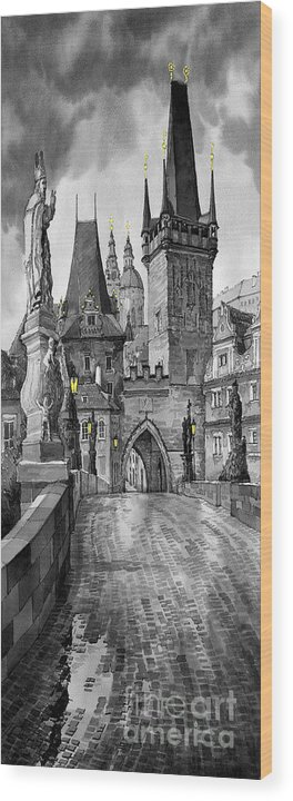 Prague Wood Print featuring the painting Bw Prague Charles Bridge 02 by Yuriy Shevchuk
