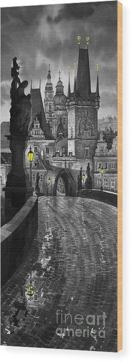 Prague Wood Print featuring the painting Bw Prague Charles Bridge 03 by Yuriy Shevchuk