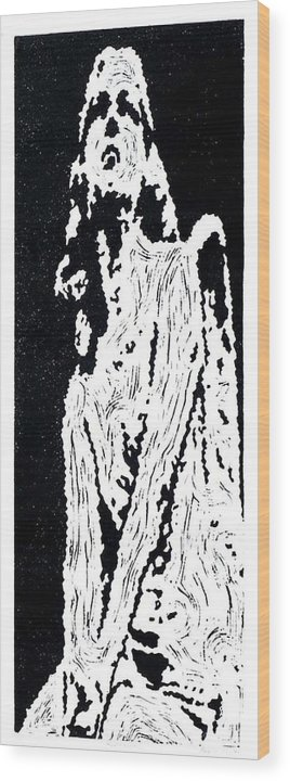 Black Wood Print featuring the painting Heavenward -- Hand-pulled Linoleum Cut by Lynn Evenson
