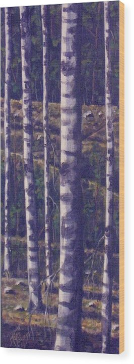 Birch Wood Print featuring the painting Reaching For The Sky II by Maren Jeskanen