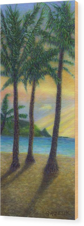 Rainbow Colors Pastel Wood Print featuring the painting Sunset Palms by Kenneth Grzesik