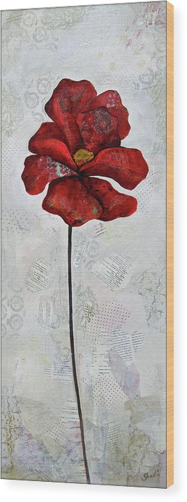 Winter Wood Print featuring the painting Winter Poppy I by Shadia Derbyshire