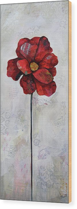 Winter Wood Print featuring the painting Winter Poppy II by Shadia Derbyshire