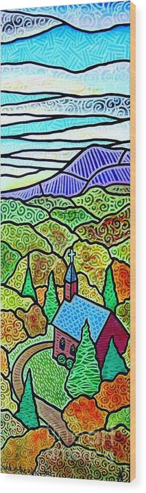 Church Wood Print featuring the painting Church In The Wildwood by Jim Harris