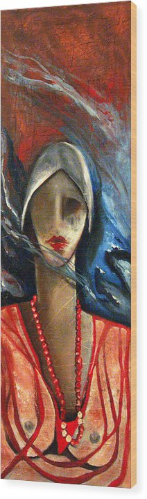 Red Pearls Woman Semi Nude Wood Print featuring the painting Red Pearls by Niki Sands