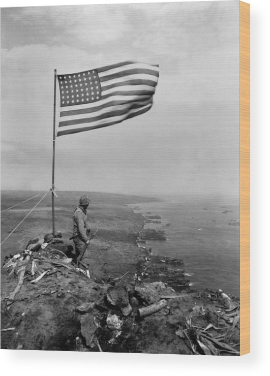 History Wood Print featuring the photograph Stars And Stripes Wave Over The Summit by Everett