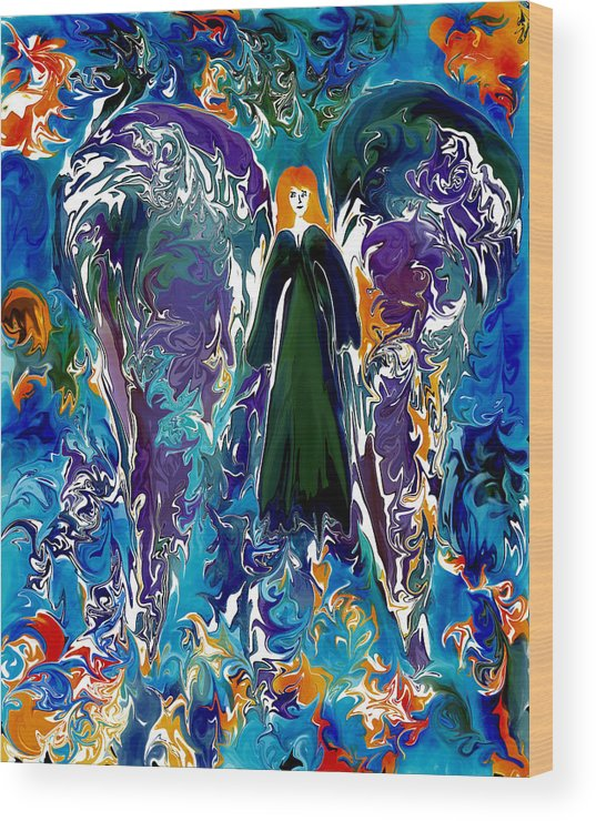 Angel Wood Print featuring the digital art Water Angel by Paula Majeski