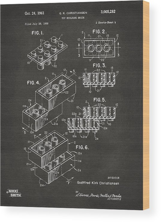 Toy Wood Print featuring the digital art 1961 Toy Building Brick Patent Art - Gray by Nikki Marie Smith