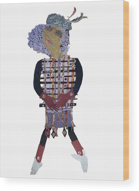 Paper Doll Wood Print featuring the mixed media 3 Ft Paper Doll by Sandra fw Beaty