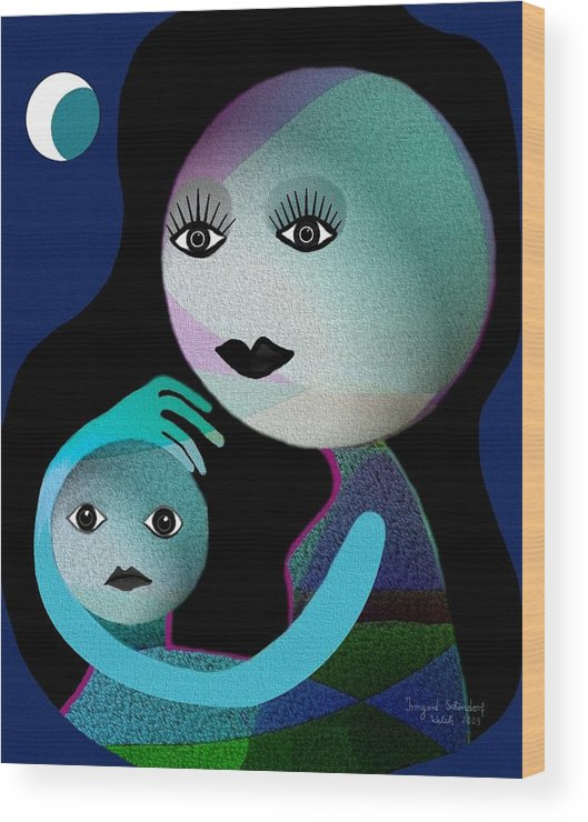 Gimp Wood Print featuring the digital art 569 - Moonmotherchild by Irmgard Schoendorf Welch