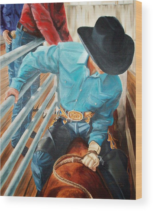 Cowboy Wood Print featuring the painting 8 Second Addiction by Scott Alcorn