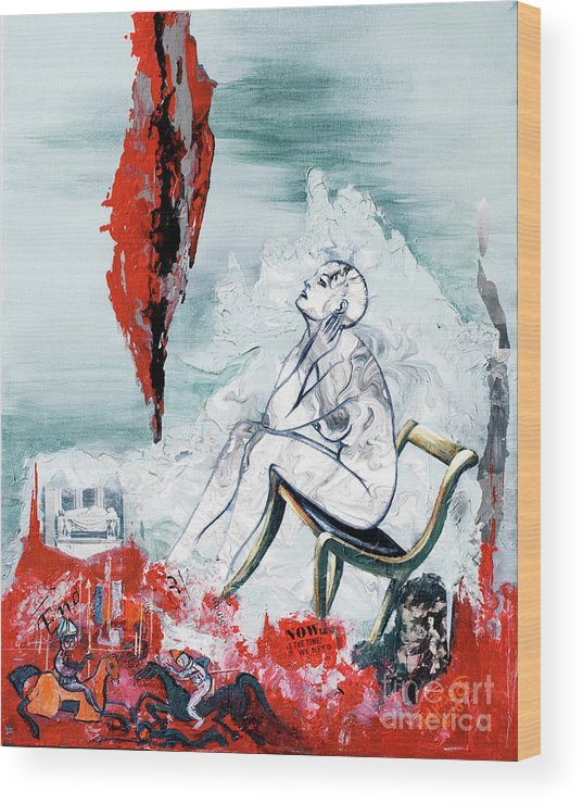 Canvas Prints Wood Print featuring the painting A Chair For My Heart Please - Thank You. by Elisabeta Hermann
