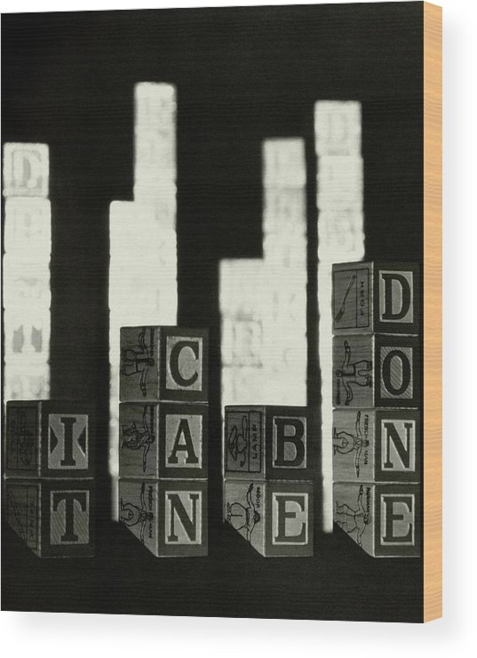 Studio Shot Wood Print featuring the photograph A Message In Wooden Blocks by Irving Browning