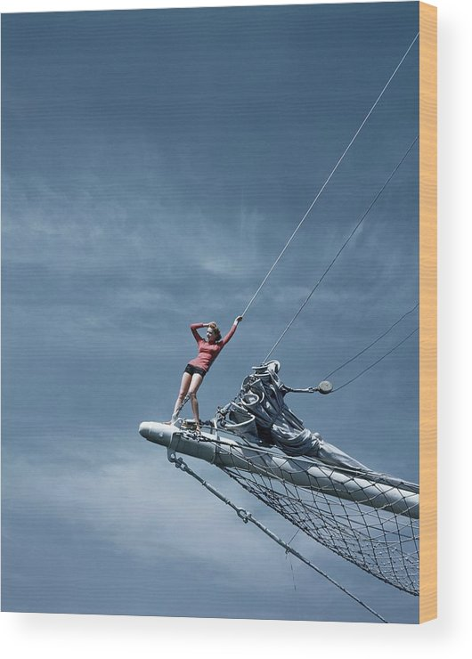 Accessories Wood Print featuring the photograph A Model On A Ship by Toni Frissell