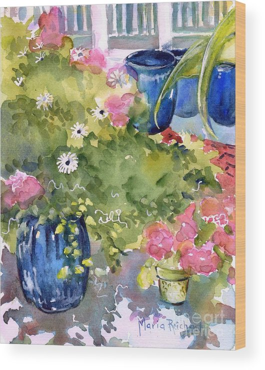 Garden Wood Print featuring the painting A Reason To Smile by Maria Reichert