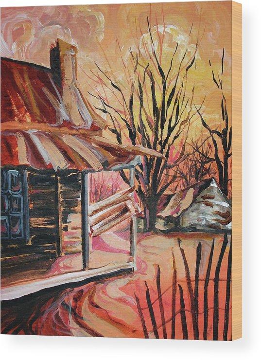 Shack Wood Print featuring the painting Abandoned Farm by Lizi Beard-Ward