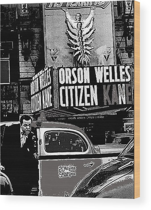 Actor Co-writer Director Orson Welles Premier Citizen Kane Palace Theater New York May 1 1941 Wood Print featuring the photograph Actor Co-writer Director Orson Welles Premier Citizen Kane Palace Theater New York May 1 1941-2014 by David Lee Guss