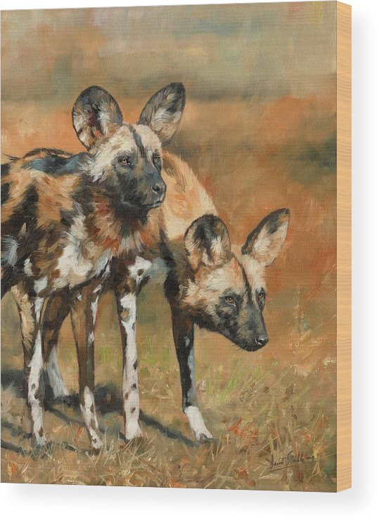 Wild Dogs Wood Print featuring the painting African Wild Dogs by David Stribbling