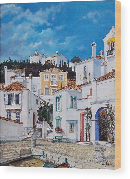 Cityscape Wood Print featuring the painting Afternoon Light In Montenegro by Sinisa Saratlic