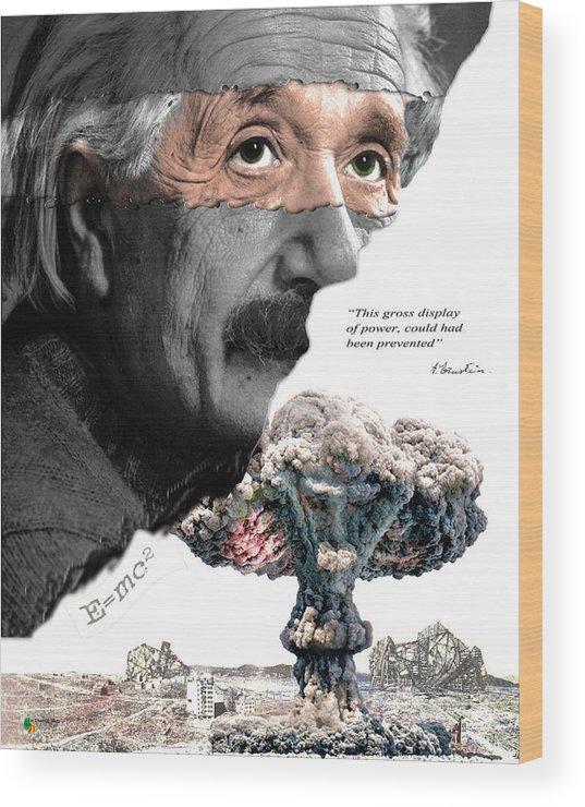 Einstein Wood Print featuring the digital art Albert Einstein by Herman Cerrato