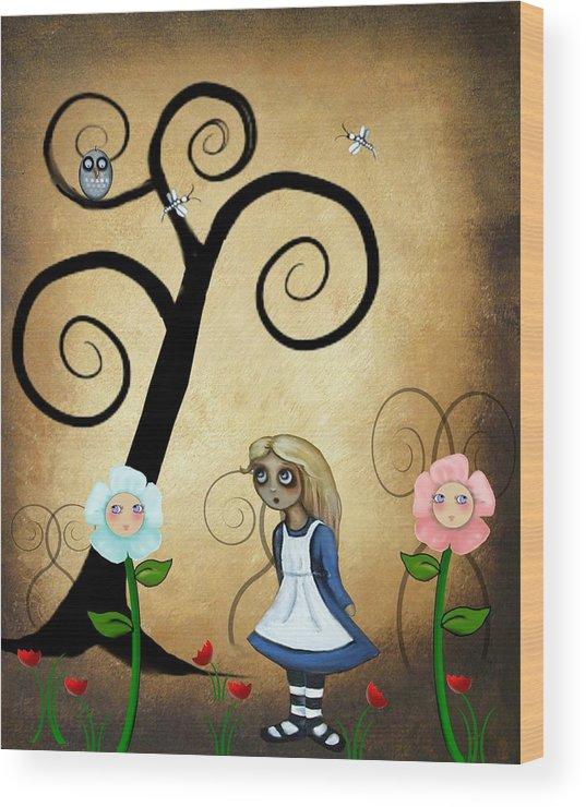 Alice In Wonderland Art Wood Print featuring the digital art Alice In Wonderland Art - Alice And Flowers by Charlene Zatloukal
