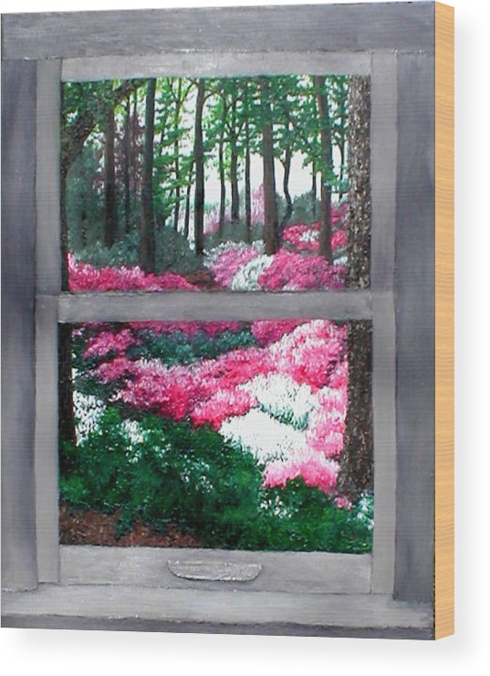 Window Wood Print featuring the painting Azalea Bowl Overlook Gardens by Beth Parrish