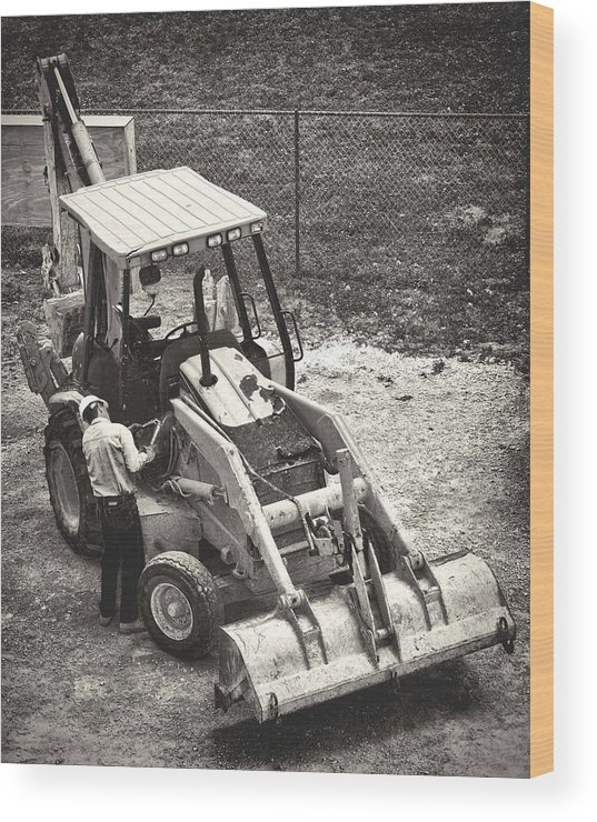 Backhoe Wood Print featuring the photograph Backhoe Bw by Rudy Umans