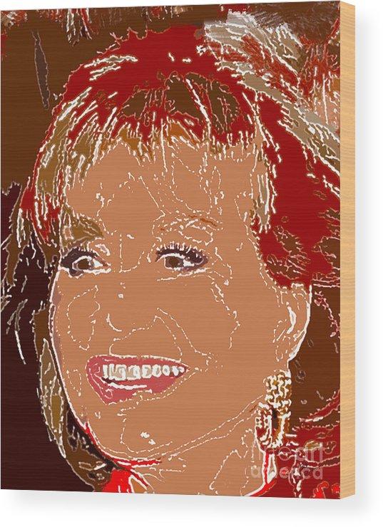 Star Wood Print featuring the digital art Barbara Walters by Dalon Ryan