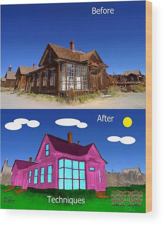 Before Wood Print featuring the painting Before And After Techniques by Bruce Nutting