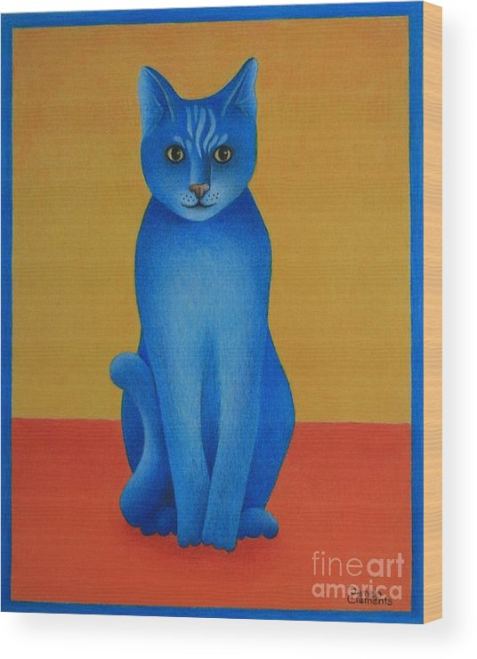 Primary Colors Wood Print featuring the painting Blue Cat by Pamela Clements