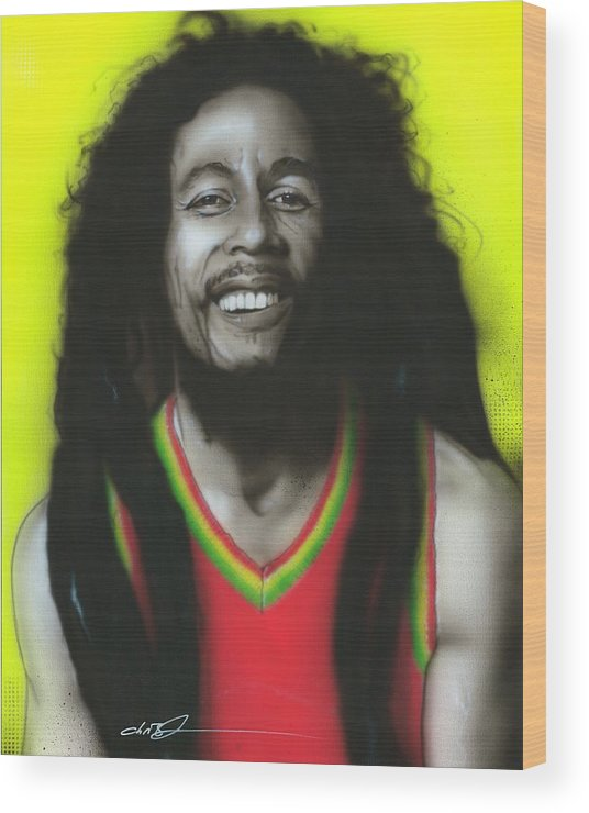 Bob Marley Wood Print featuring the painting Bob by Christian Chapman Art