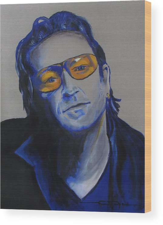 Celebrity Portraits Wood Print featuring the painting Bono U2 by Eric Dee