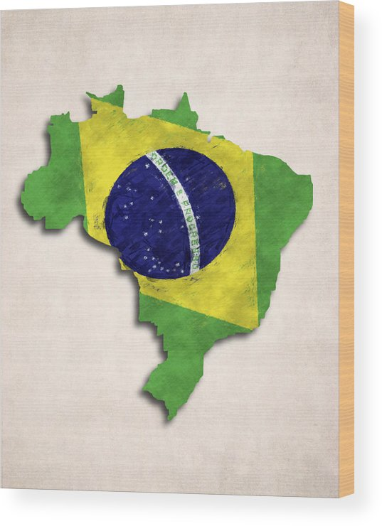 Brazil Wood Print featuring the digital art Brazil Map Art With Flag Design by World Art Prints And Designs