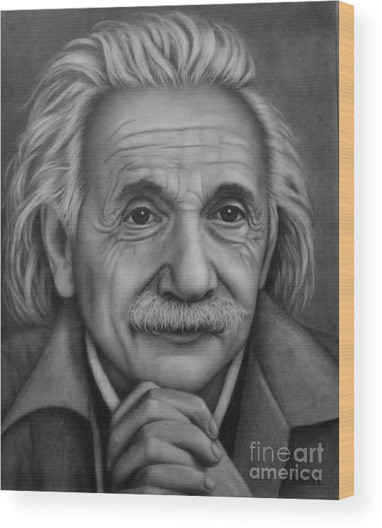 Graphite Wood Print featuring the painting Brilliant Mind by Paula Ludovino